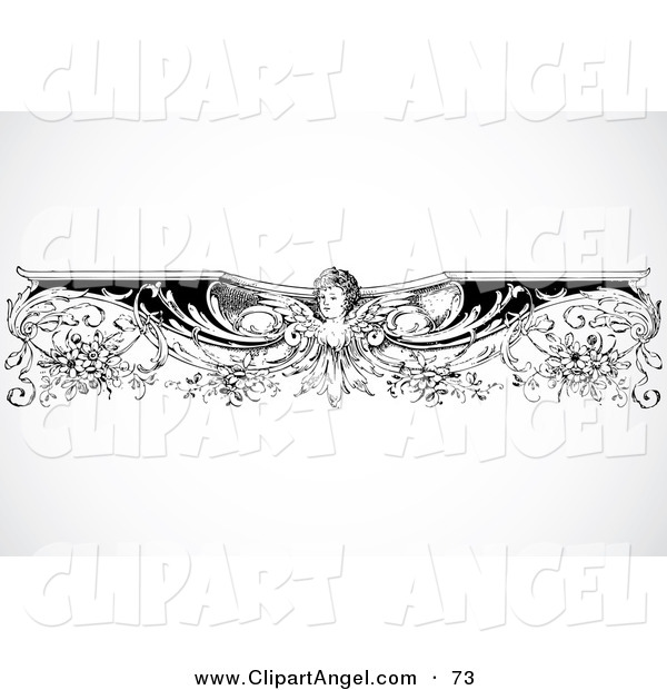 Illustration Vector of a Black and White Intricate Angel Border Design ...