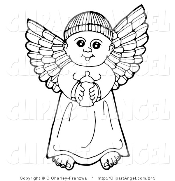 Illustration Vector of a Black and White Pen and Ink Drawing of a Happy Winged Baby Boy Angel Holding a Bottle