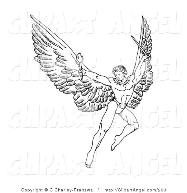 Illustration Vector of a Black and White Pen and Ink Drawing of a Male Warrior Angel with Large Wings, Flying with a Torch and Sword