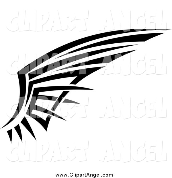 Illustration Vector of a Black and White Tribal Angel Wing