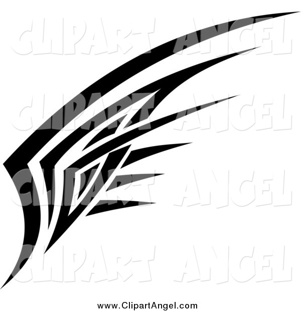 Illustration Vector of a Black and White Tribal Angel Wing Design
