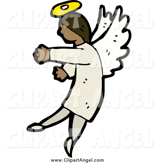 Illustration Vector of a Black Angel Gesturing to the Left