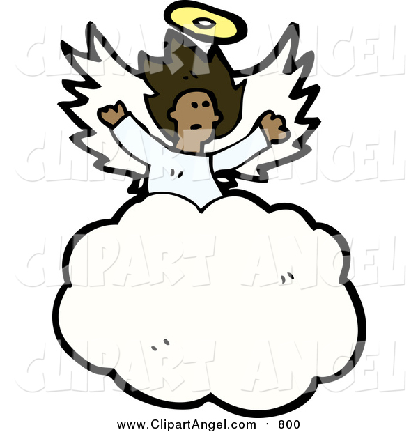 Illustration Vector of a Black Angel in the Clouds