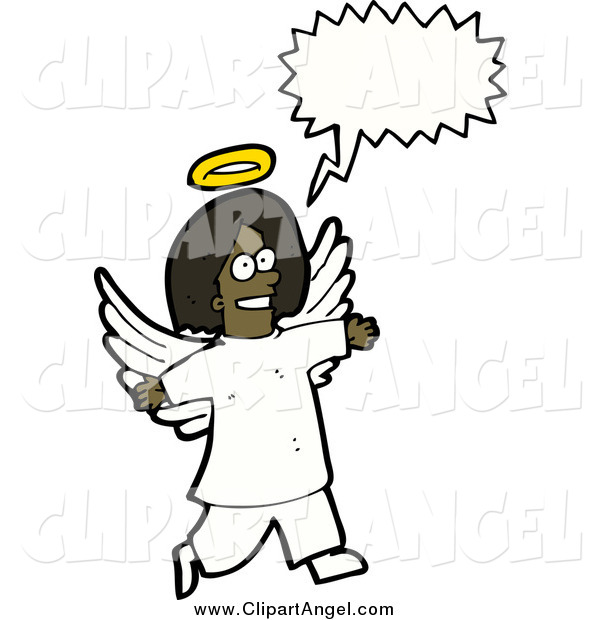 Illustration Vector of a Black Angel with a Conversation Bubble