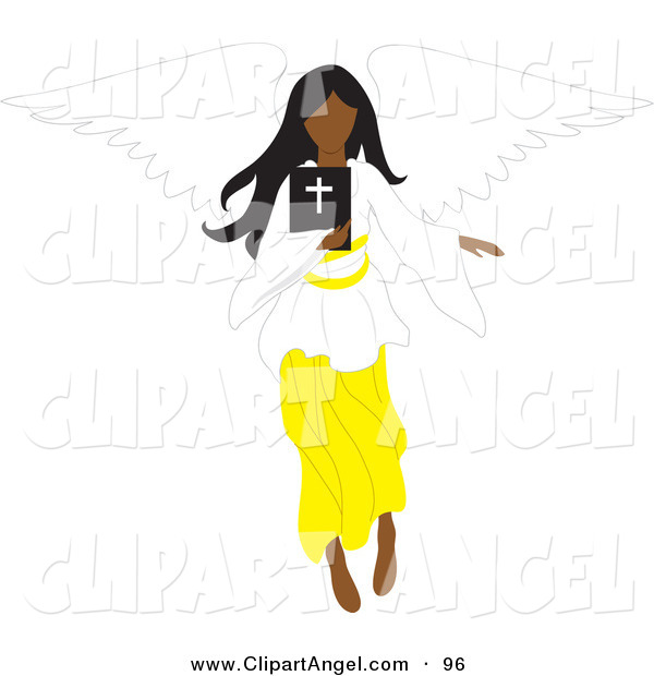 Illustration Vector of a Black Female Angel Flying with a Bible in Hand