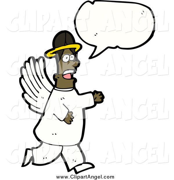 Illustration Vector of a Black Male Angel Speaking