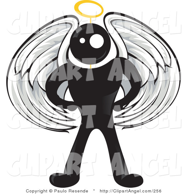 Illustration Vector of a Blackman Angel Character with White Wings and a Yellow Halo