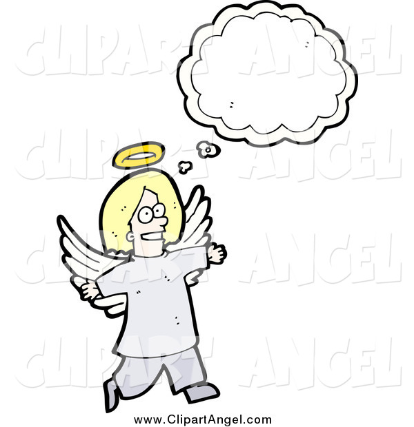 Illustration Vector of a Blond Angel with a Conversation Bubble