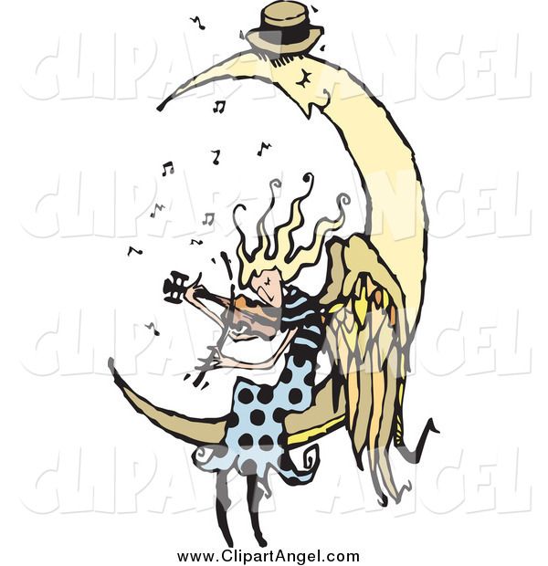 Illustration Vector of a Blond Female Angel Playing a Violin for a Sleeping Moon