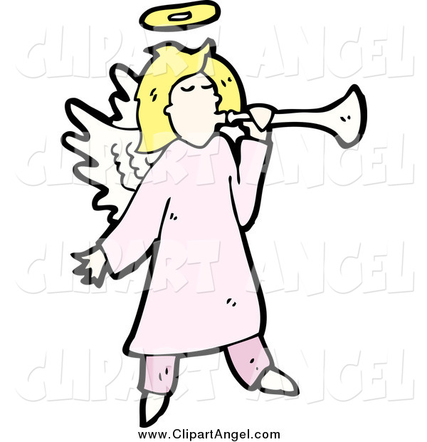 Illustration Vector of a Blond White Female Angel Blowing a Horn