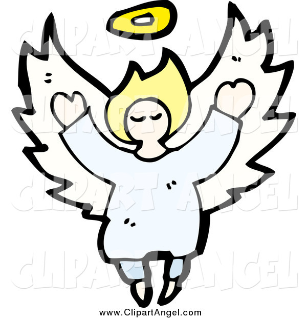 Illustration Vector of a Blond White Female Angel Flying with Open Arms