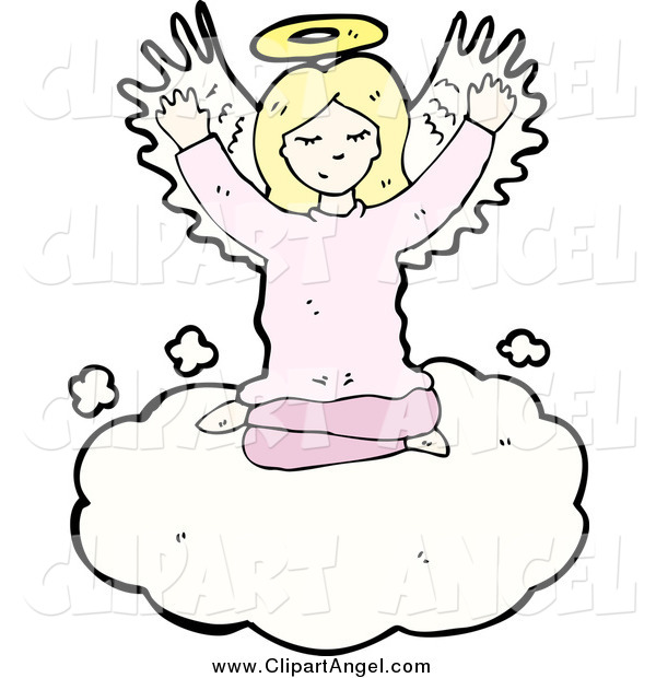 Illustration Vector of a Blond White Female Angel in the Clouds