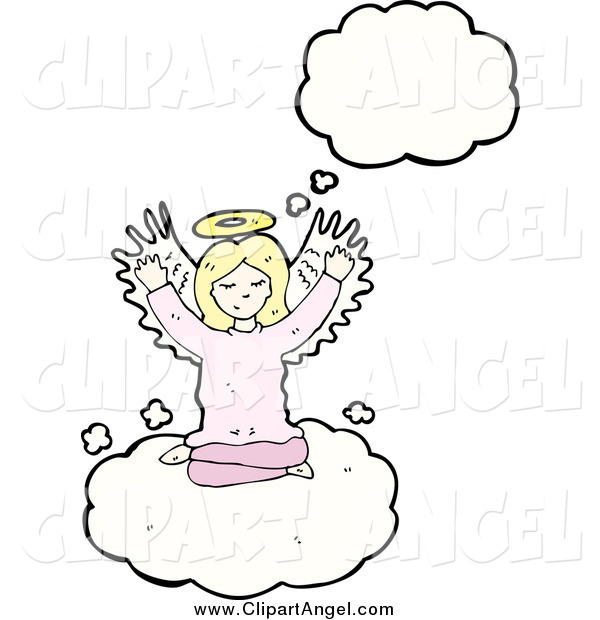 Illustration Vector of a Blond White Female Angel Thinking