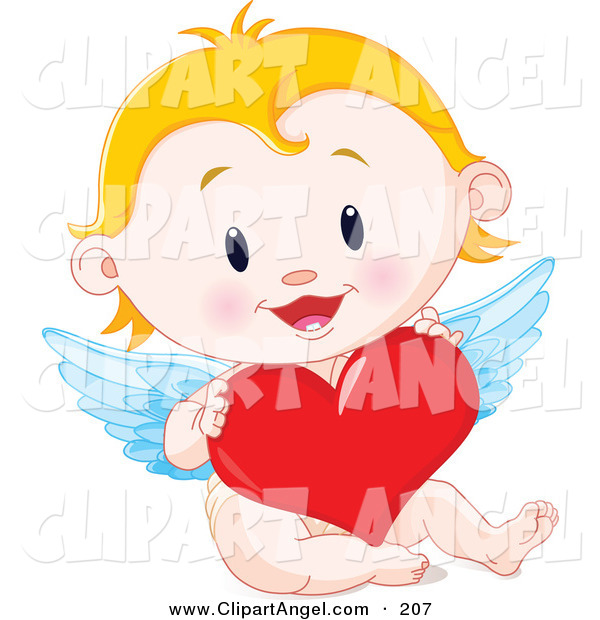 Illustration Vector of a Blonde Baby Cupid Holding a Big Red Heart