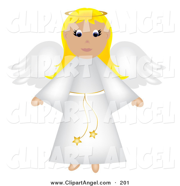 Illustration Vector of a Blonde Christmas Angel in a White Robe, Flying, with a Halo