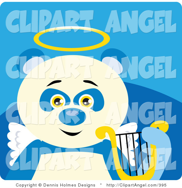 Illustration Vector of a Blue and White Angel Panda Bear with a Halo, Wings and Lyre on Blue