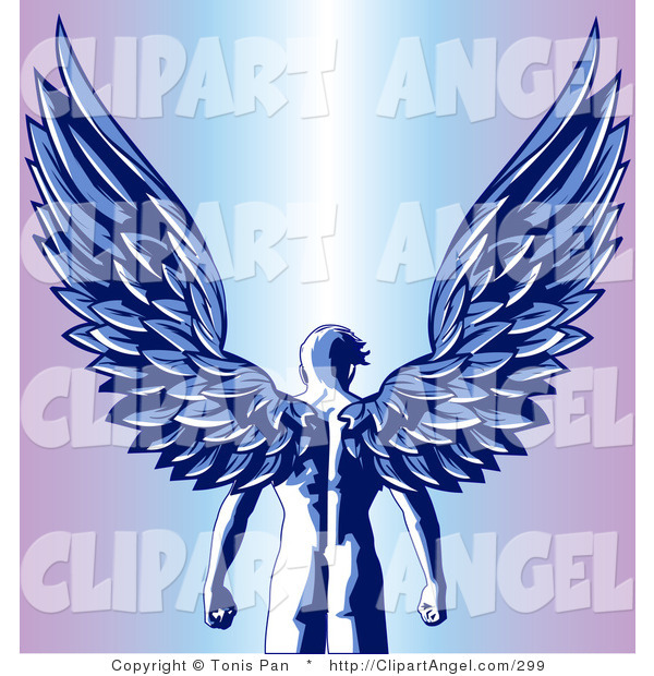 Illustration Vector of a Blue Nude Male Guardian Angel As Seen from Behind, Standing with His Large Feathered Wings Open Above Him