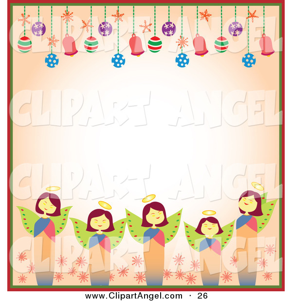 Illustration Vector of a Brown Border of Christmas Angels and Christmas Bulbs with Copyspace