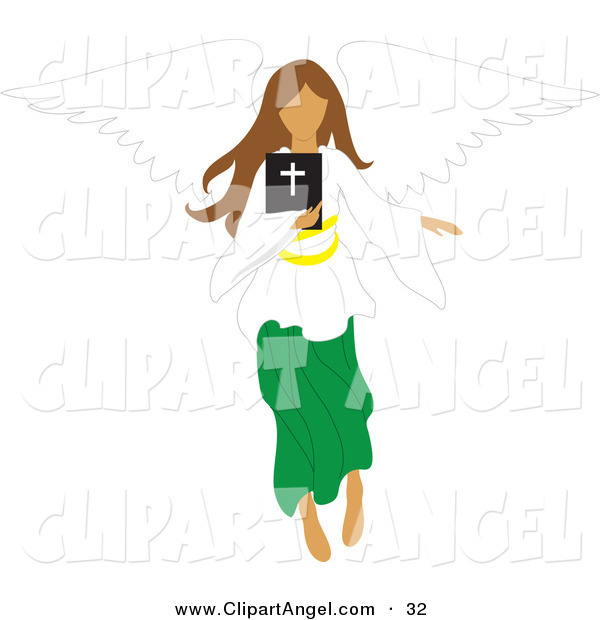 Illustration Vector of a Brunette Female Angel Flying with a Bible in Hand