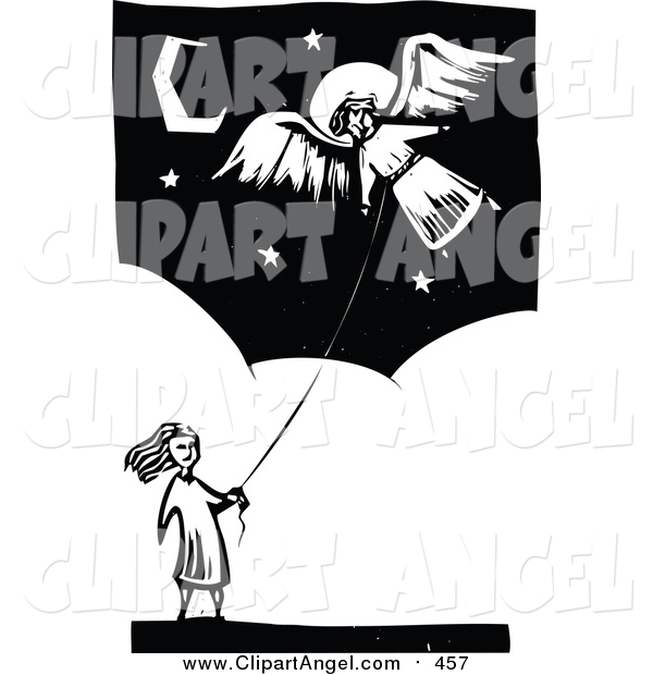 Illustration Vector of a Bw Girl Flying an Angel Kite