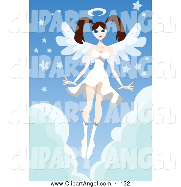 Illustration Vector of a Caucasian Brunette Female Angel in a White Dress, Hovering over Clouds with Stars
