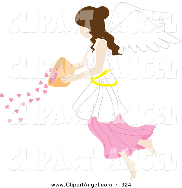 Illustration Vector of a Caucasian Happy Brunette Female Angel Pouring Hearts from a Bowl