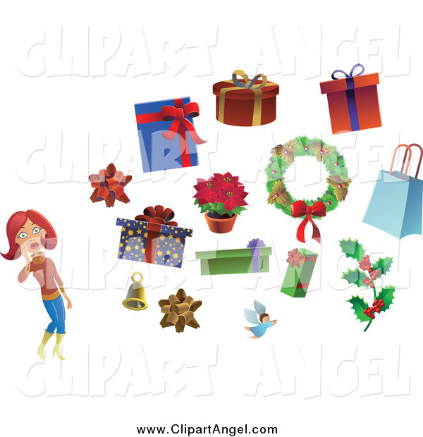 Illustration Vector of a Christmas Woman with a Bow Bell Angel Holly Wreath and Gifts