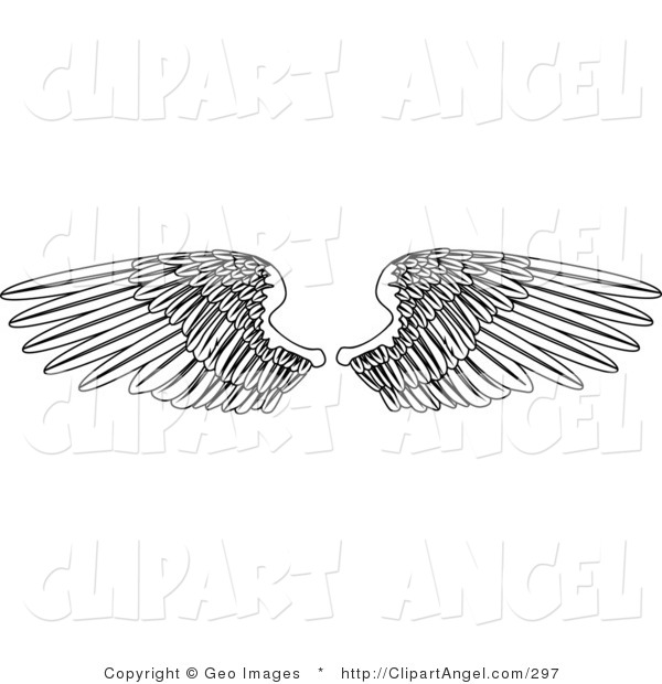 Illustration Vector of a Coloring Page of Two Open Feathered Wings, Spread over White
