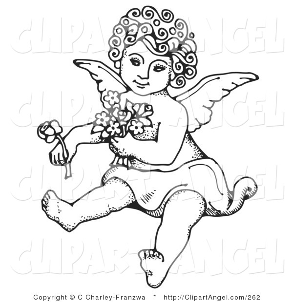 Illustration Vector of a Coloring Page Sweet Curly Haired Cherub Sitting on the Ground, Holding Flowers in One Arm and a Rose out in One Hand