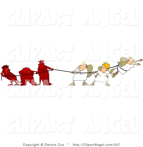 Illustration Vector of a Conscience Battle Three Bad Devils Playing Tug of War with Three Good Angels