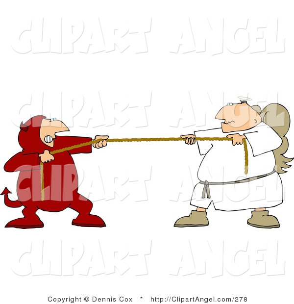 Illustration Vector of a Conscious Tug of War Battle Between Good and Evil (Devil and Angel)