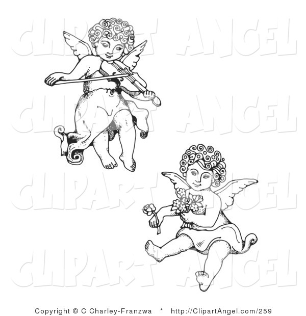 Illustration Vector of a Couple of Adorable Curly Haired Cherubs, One Playing a Violin and Flying, the Other Holding Flowers