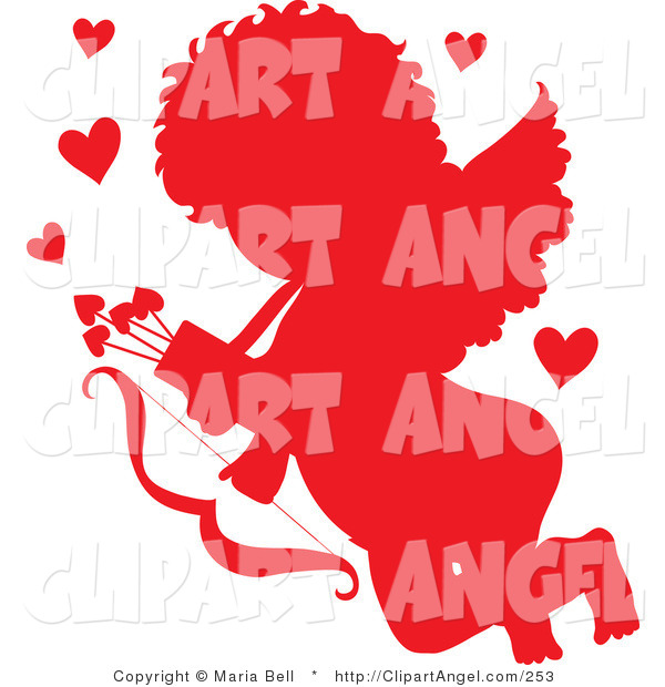 Illustration Vector of a Cupid Angel Silhouetted in Red, Surrounded by Hearts and Carrying a Bow and Arrows