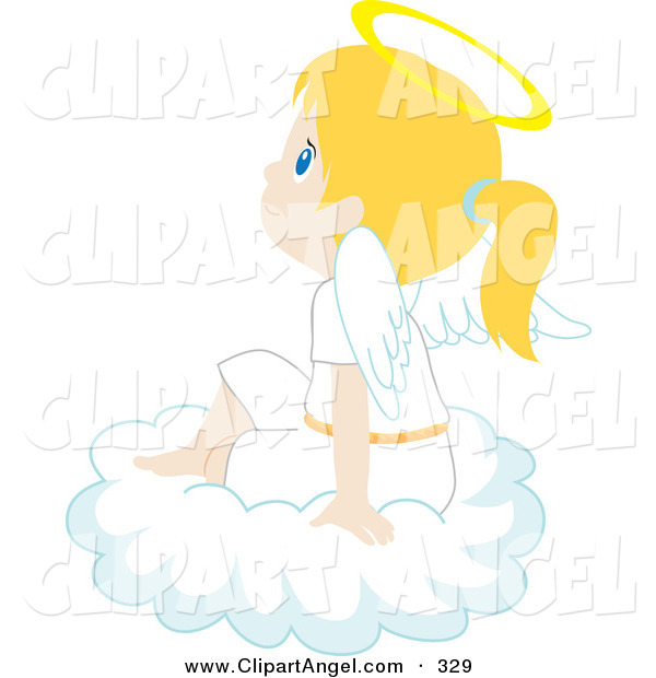 Illustration Vector of a Cute and Innocent Blond Caucasian Angel Girl Sitting on a Cloud