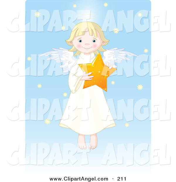 Illustration Vector of a Cute Blonde Girl Angel Holding a Star in a Blue Snow Sky