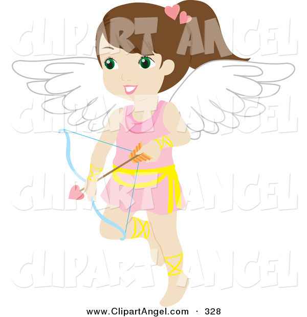 Illustration Vector of a Cute Brunette White Female Cupid with a Bow and Arrow