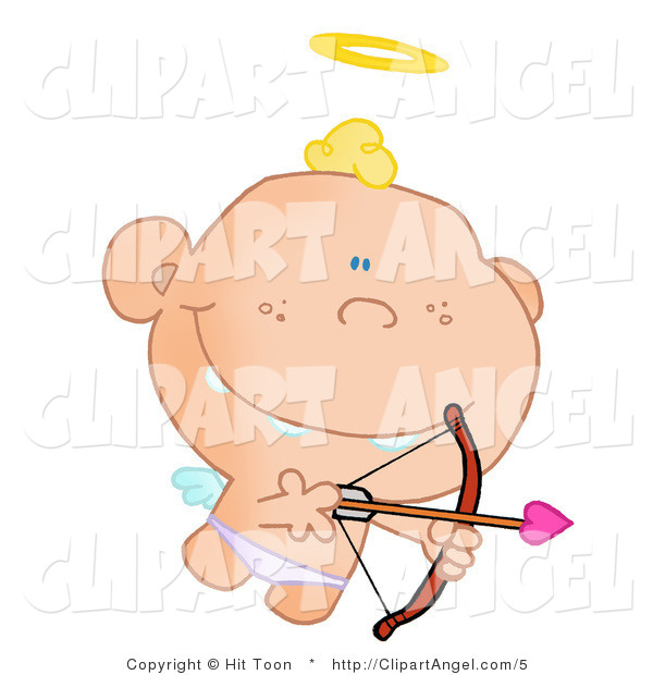 Illustration Vector of a Cute Cupid Flying with a Halo Above His Blond Hair, Aiming an Arrow