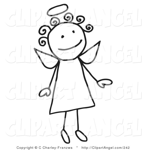 Illustration Vector of a Cute Flying Female Stick Angel with a Halo and Curly Hair on White