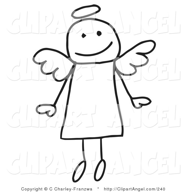 Illustration Vector of a Cute Flying Stick Angel with a Halo over Her Head