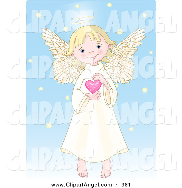 Illustration Vector of a Cute, Innocent, Blond Caucasian Female Angel with a Halo, Holding a Pink Heart