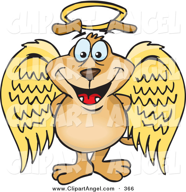 Illustration Vector of a Cute Innocent Crown Dog Angel Character