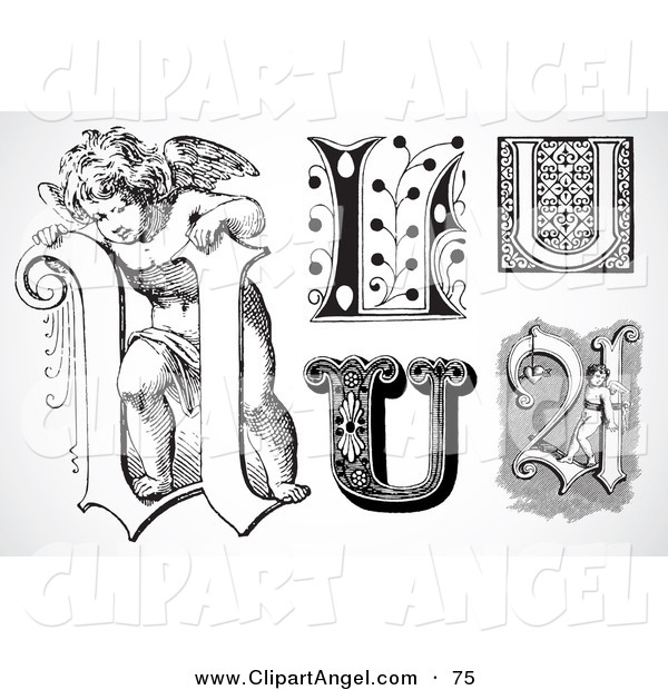 Illustration Vector of a Digital Set of Black and White Letters; U on White