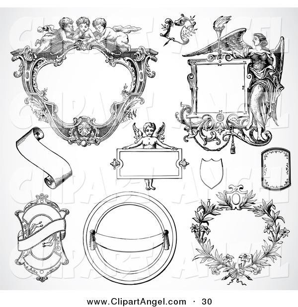 Illustration Vector of a Digital Set of Fancy Frame Design Elements, Black and White