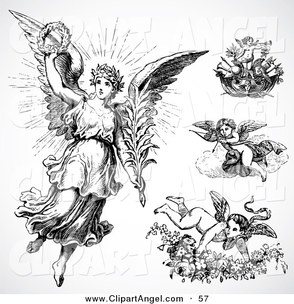 Illustration Vector of a Digital Set of Four Angels and Cupids on White