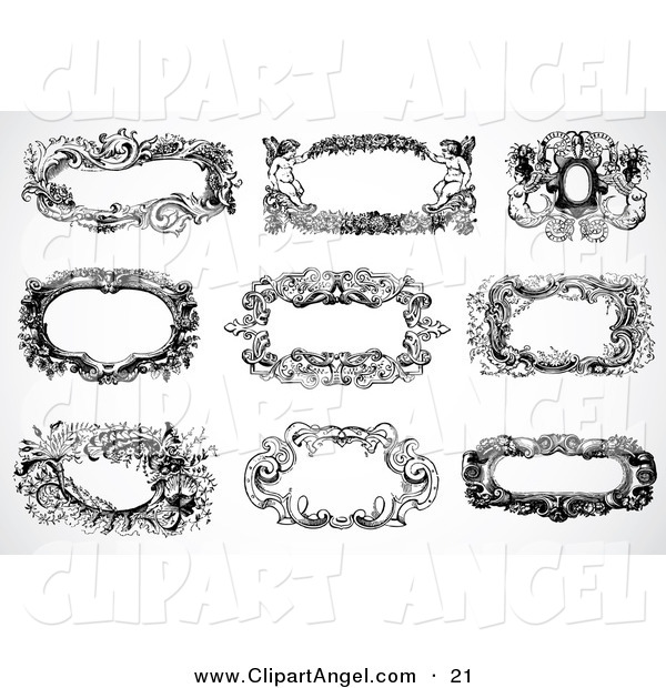 Illustration Vector of a Digital Set of Nine Black and White Vintage Baroque Frames and Text Boxes