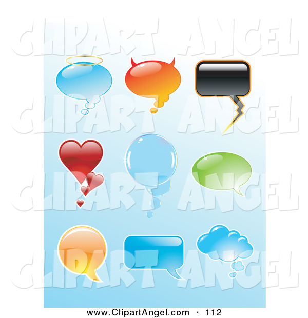 Illustration Vector of a Digital Set of Shiny Shaped Speech Balloons on Blue