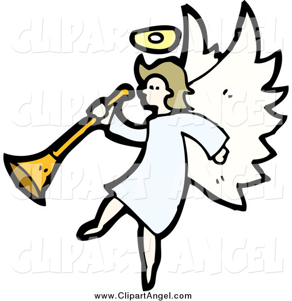 Illustration Vector of a Dirty Blond White Female Angel Holding a Horn