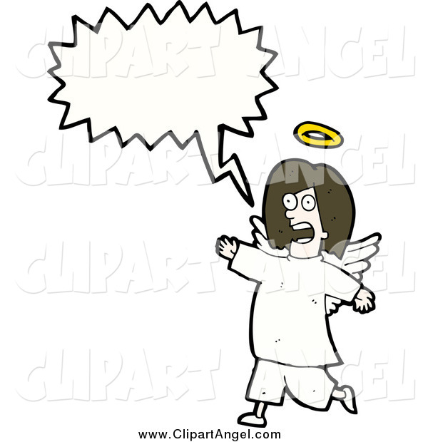 Illustration Vector of a Female Angel with a Conversation Bubble