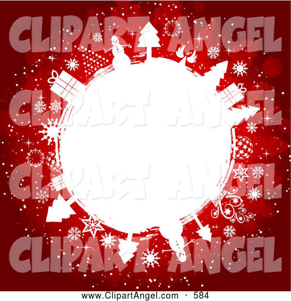Illustration Vector of a Festive Red Christmas Background with a White Circle of Gifts, Trees and Snowflakes
