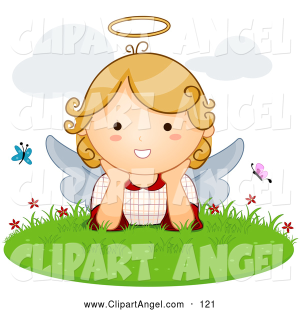 Illustration Vector of a Friendly Cute Blond Angel with Butterflies in the Grass